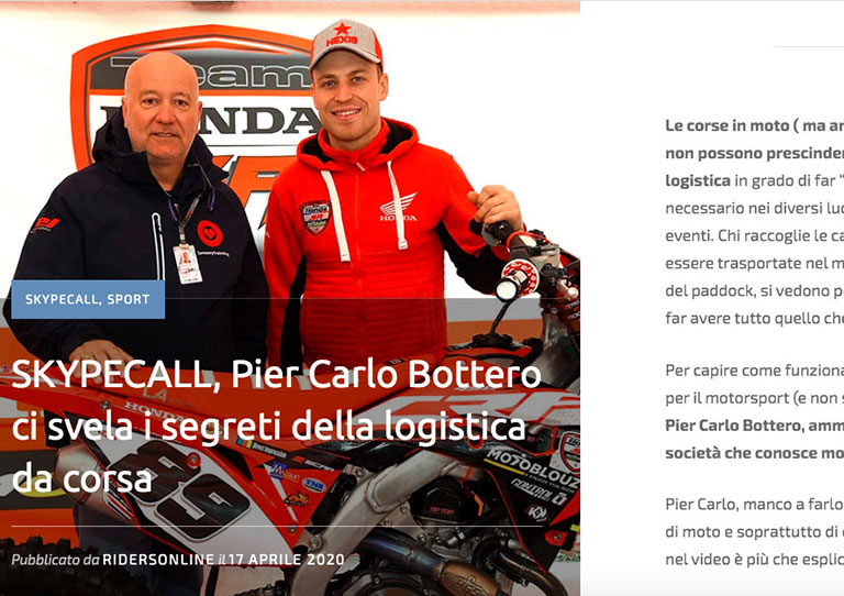 Racing logistics: interview of Riders on Tour with our CEO, Pier Carlo Bottero